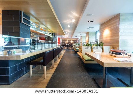 The modern cafe with cozy interior. - stock photo