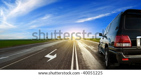The modern car on road - stock photo