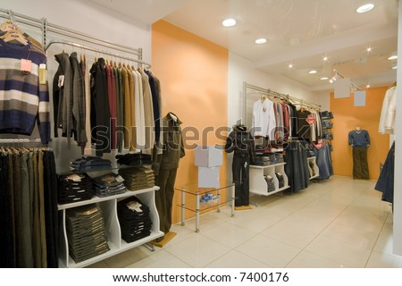 the modern cloth shop interior photo - stock photo