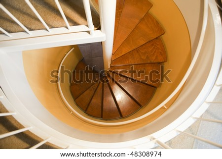 The modern design spiral stair in the house. - stock photo
