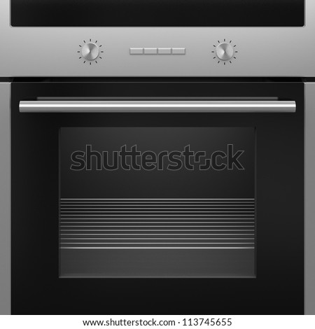 The modern electrical oven with a grid. Isolated. - stock photo