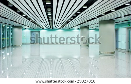 the modern hall in building - stock photo
