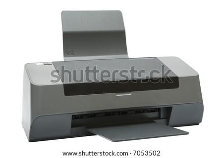 The modern inkjet printer on a white background - stock photo