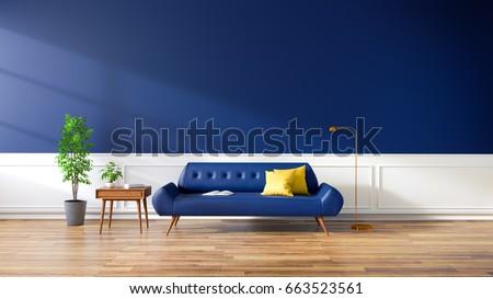 The Modern Interior Of Living Room Blue Sofa On Hardwoods Flooring And Dark Wall