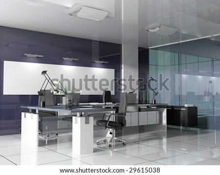 The modern interior of office 3d image - stock photo