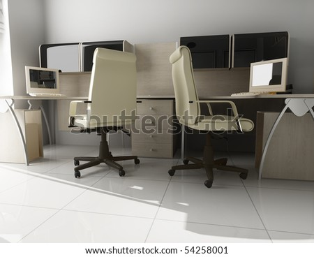 The modern interior of office 3d image