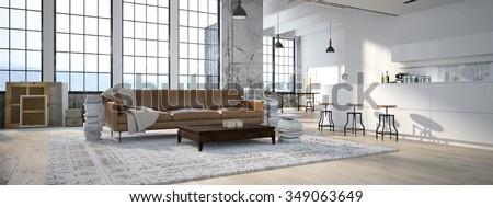 The modern kitchen interior design. 3d rendering - stock photo