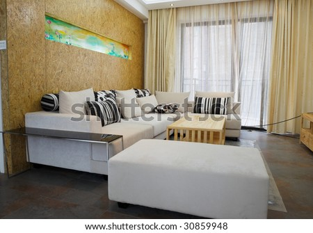 the modern living room interior