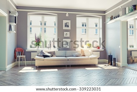 the modern living room interior.3d design concept - stock photo