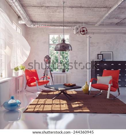 the modern loft interior concept design (3d render)  - stock photo