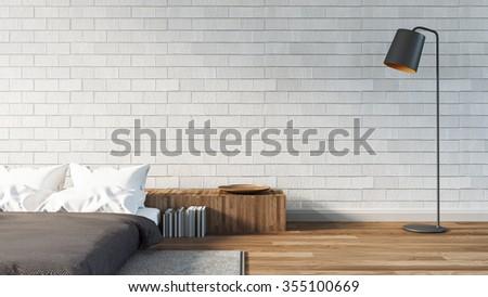 The Modern of Loft Bedroom / 3D render image - stock photo