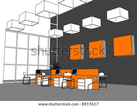 the modern office interior (cartoon style rendering) - stock photo