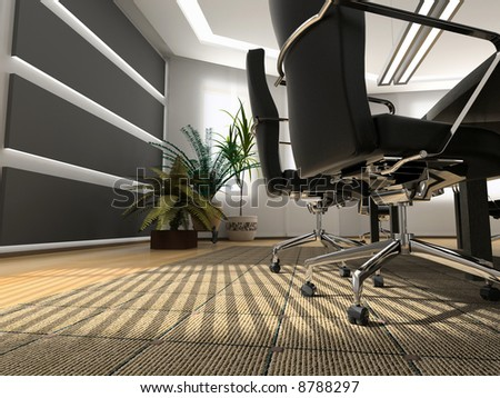 the modern office interior (3D rendering) - stock photo