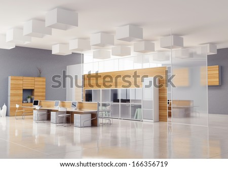 the modern office interior design  - stock photo