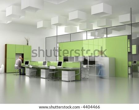 the modern office interior design (3d render) - stock photo