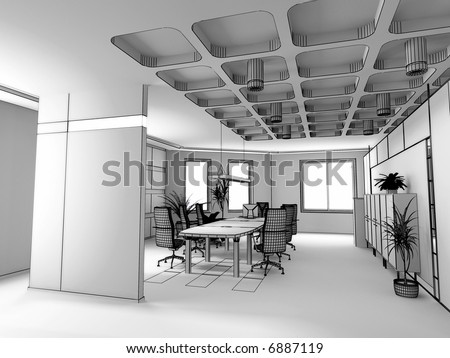 Interior Design Office Sketches modern office interior design sketch 3d stock illustration 6887119