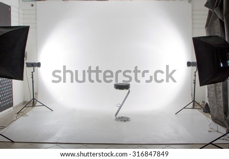 The modern photo and video studio - stock photo