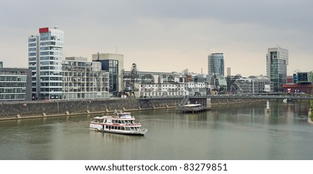 """The modern quarter """"Zollhafen"""" of Dusseldorf in Germany - stock photo"""