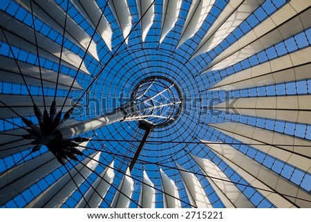 the modern roof of the Sony Center - Berlin, Germany