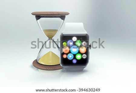 The modern smart watch and old hourglass as symbol of technical progress. 3d generated - stock photo