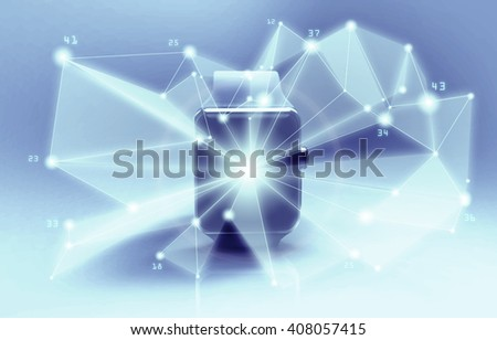 The modern smart watch with with abstract symbols of data science in front of screen. 3d rendering - stock photo
