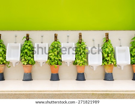 The modern style decorative restroom interior design with white urinal row and green ornamental plants - stock photo
