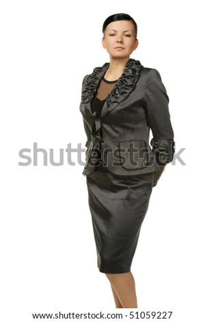The modern woman. The woman is adult is isolated on a white background - stock photo