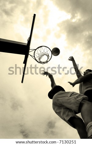 The moment in basketball - stock photo