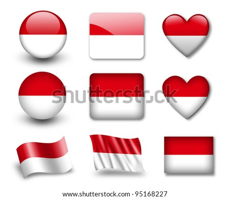 The Monaco flag - set of icons and flags. glossy and matte on a white background.