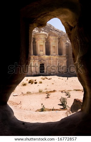 The Monastery Al-Deir at Petra Jordan - stock photo
