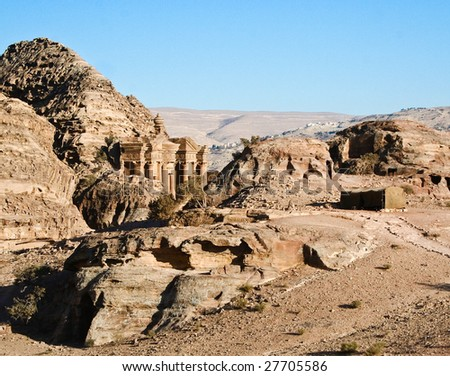 The Monastery at Petra, Jordan - stock photo