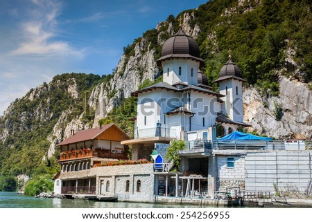 The Monastery at the Iron gates national park, Serbia, Romania - stock photo