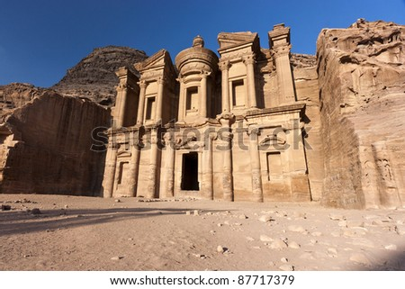 The Monastery (Deir) at Petra in the late afternoon sunshine - stock photo