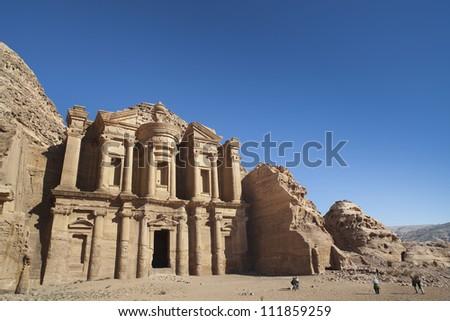 The Monastery in ancient city of Petra, Jordan - stock photo