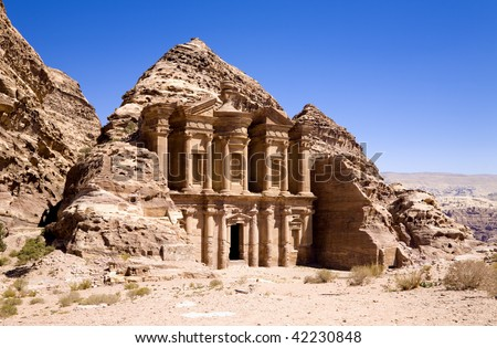 The Monastery in ancient city of Petra, Jordan - stock photo