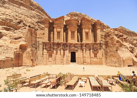 The monastery in Petra,which was carved in the 1st century B.C as a tomb for one of the Nabateans kings,and was used later on as a monastery - stock photo