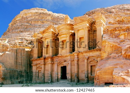 The monastery in world wonder Petra, Jordan - stock photo