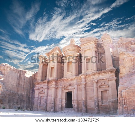 The monastery in world wonder Petra, Jordan