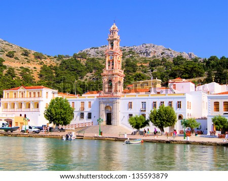 The monastery of Panormitis on the Greek island of Symi - stock photo