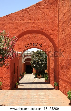 The Monastery of Saint Catherine (Santa Catalina), Arequipa, Peru  It belongs to the Dominican Second Order. It's built predominantly in the Mudejar style in 1579 and was enlarged in the 17th century. - stock photo