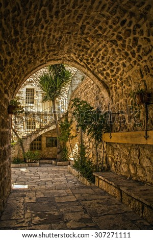 The Monastery of the Cross is an Orthodox monastery in Jerusalem and located in the Valley of the Cross, Now it is occupied by monks of the Jerusalem Patriarchate. - stock photo