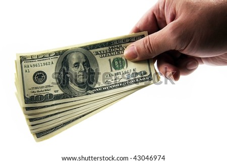 The monetary contribution or bribe to hundred denominations. On a white background. - stock photo