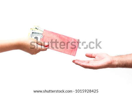 The money dollars in hand isolated on a white background.