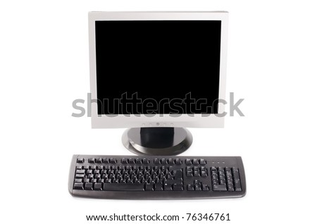 The monitor and the computer keyboard - stock photo