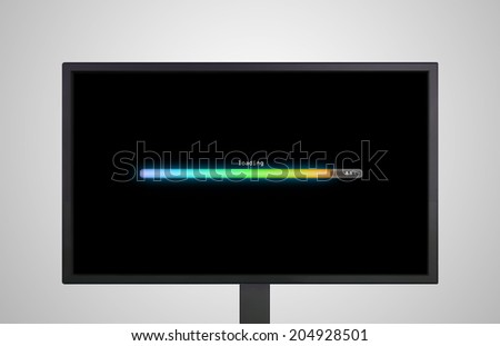 the monitor display show with color bar line representing the process of loading  - stock photo