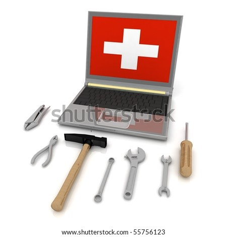 The monitor with the complete set of tools for repair