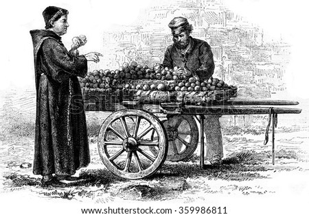 The monk with oranges, vintage engraved illustration. Magasin Pittoresque 1873. - stock photo