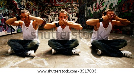The 3 Monkeys concept. Perhaps used for disability or just a fun image - stock photo