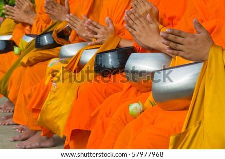 the monks - stock photo