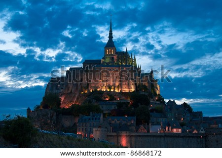 The Mont Saint Michel at evening - stock photo